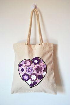 Rope handles Canvas Tote bag Heart flowers by Lemiecreazionidarte