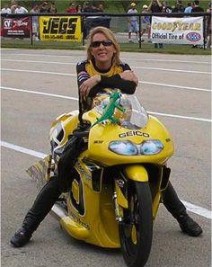 Tough girl Karen Stoffer, NHRA Pro/Stock Bike.
