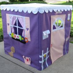 Fabric Playhouse, Super Size Lavender Lane, 48 Inches Tall and Square, Custom Order, Personalized. $285.00, via Etsy.