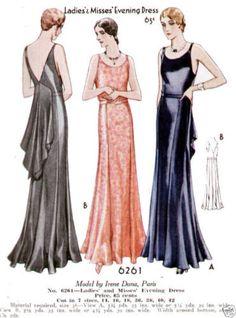 McCall 6261 by Irene Dana, Paris | ca. 1930 Ladies' & Misses' Evening Dress