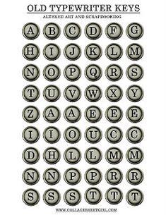 Printable Old Typewriter Keys