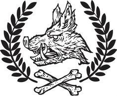 Grey Ink Boar Head Tattoos Design