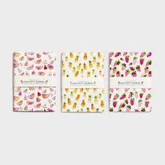 Notebook, carnet, notes, pasteque, ananas, fraise, papeterie, journal intime, carnet de notes, petit carnet, fruits, illustration, aquarelle