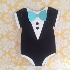 Boys tiffany inspired tuxedo baby shower onesie invitation