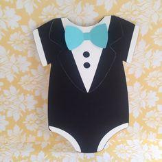Boys tiffany inspired tuxedo baby shower onesie invitation