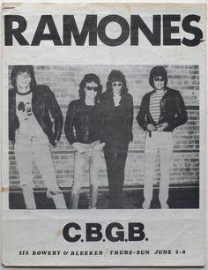 The Ramones at CBGBs flyer, June 1975. Gabba Gabba Hey