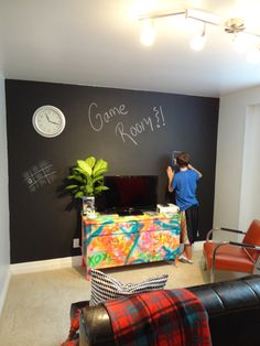 The $100 Chalkboard & Graffiti Guest-Game Room Makeover