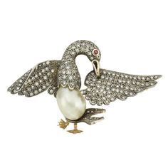 Antique Silver, Gold, Natural Pearl and Diamond Bird Brooch
