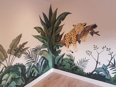 Wall painting children's room jungle Wall painting children's room jungle Jungle Theme Nursery, Nursery Book, Baby Room Art, Baby Room Decor, Jaguar Animal, Boy Girl Room, Plant Painting, Tropical Decor, Kids Bedroom
