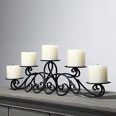 Adeco Iron Table Desk Top Candle Holder, Scroll Design, Pyramid Layout Holds 5 Pillar Candles