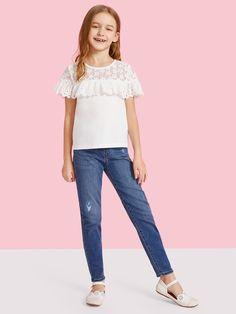 Kids Tops, Kids Fashion, Fashion Outfits, Girls Tees, Ruffle Trim, Kids Outfits, Girls Dresses, Kids Clothing, Accessories