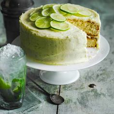 Mojito cake Soak light and airy sponges in a mojito-infused sugar syrup, then cover with a zingy lime buttercream. Our mojito cake is an absolute stunner! Recipe created by olive reader Joanne Middleton Tortas Deli, Köstliche Desserts, Dessert Recipes, Italian Desserts, Pudding Recipes, Bolo Cake, Easy Cake Recipes, Summer Cake Recipes, Game Recipes