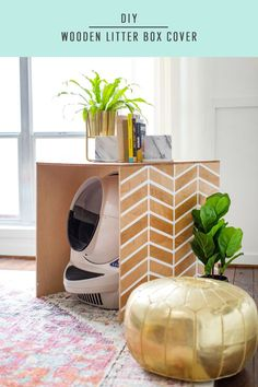 Nothing says welcome home like a clean litter box right? We're sharing this patterned DIY litter box for hiding the unwanted. Diy Interior, Office Interior Design, Diy Litter Box Cover, Elegant Home Decor, Diy Home Decor, Room Decor, Do It Yourself Regal, Litter Robot, Commercial Office Design