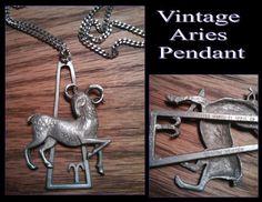 Vintage Signed Aries Zodiac Pendant by PurpleHazeDayz on Etsy, $18.00