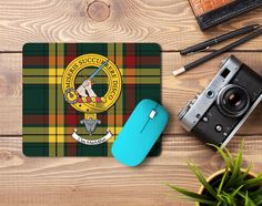 Rubber mousemat with MacMillan Clan crest and tartan - only from ScotClans