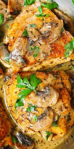 Chicken and Mushrooms with a Creamy Herb Sauce - moist and tender chicken thighs with crispy skin! #BHG #sponsored