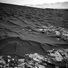 Dark sand dunes on Mars, photographed by the NASA Curiosity rover - #Mars #Martian #NASA #Curiosity #rover #dunes #space #astronomy #geology #meteorites