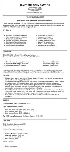 Resume Templates Food Service Hotel Manager Resume Samples