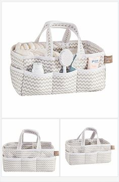 Dove Gray Chevron Baby Storage Nursery Caddy Diaper Organizer, Pet Supplies, Crafts - Every Thing Baby
