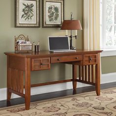 Home Styles Arts & Crafts Executive Desk - Cottage Oak | from hayneedle.com