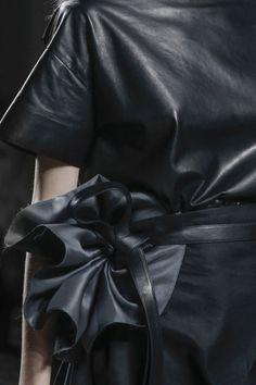 Black leather dress & fabric flower belt; fashion details // Bottega Veneta Spring 2014