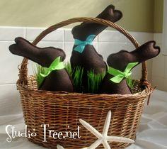 Handmade Faux  Dark  Chocolate Easter Bunnies Set of 3. $27.00, via Etsy.