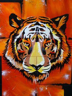 Tiger, Acryl Glanzfirnis, 7 verschiedene Leinwände auf Holzplatte 80cm x 107cm