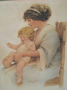 """BESSIE PEASE GUTMANN CALENDAR ART PRINT MOTHER PLAYING """"THIS LITTLE PIGGY"""" TOES!"""