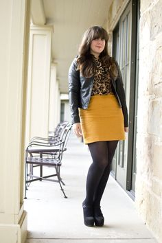 mustard + leopard are a perfect work pair