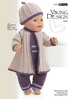 Viking Design Dukke www.n … www … - Easy Yarn Crafts Knitting Dolls Clothes, Crochet Doll Clothes, Knitted Dolls, Doll Clothes Patterns, Doll Patterns, American Girl Outfits, American Doll Clothes, Baby Knitting, Crochet Baby