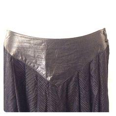 """VINTAGE Silk & Leather Skirt Cool midi skirt. Length: 33"""", Waist: 26.5"""", Tag says 8 Vintage Skirts Maxi"""