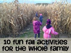 10 Fun Fall Activities for the Whole Family - really good, easy ideas. Comparing gourds, fall scavenger hunt, etc.