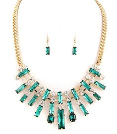 Emerald Green Rhinestone Stones Crystal Accents  Necklace Earrings Set Fashion  #FashionJewelry