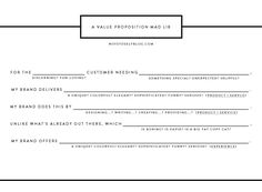 A Value Proposition Mad Lib via @Sarah Chintomby Tolzmann