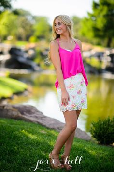 Printed crochet, high waisted, mini skirt with scalloped hem and lining.   Small - 2/4 Medium - 6/8 Large - 10