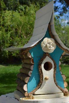 Bird house.Birdhouse, Rose, Rose Cottage, Functional birdhouse by PapaJonsflyinns on Etsy
