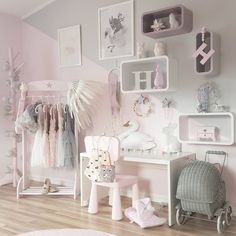 modern chic nursery and toddler rooms; little girl bedrooms Credit: Baby Bedroom, Baby Room Decor, Girls Bedroom, Bedroom Decor, Baby Girl Bedroom Ideas, Ikea Girls Room, Pastel Bedroom, Kid Bedrooms, Bedroom Curtains