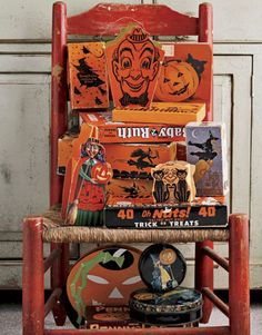 Vintage halloween collectibles - my favorite is the Fanny Farmer witch candy box!