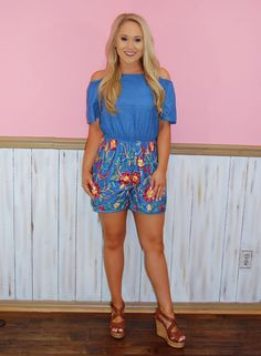 585a147879a5 Denim Blue Romper with Floral Bottom Detail Fits true to size Wish  Boutique