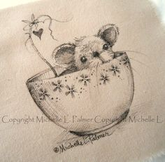 Sweet little friends find their way into my heart and I love to sketch them for you!    Original pen & ink illustrations on fabric.  This is not a