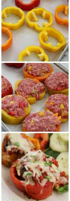 Mini Meatloaf Pepper Rings - bell pepper, bread, carrot, cheese, flakes, garlic, healthy, mini, paprika, parmesan, parsley, pepper, recipes, red pepper, tomato