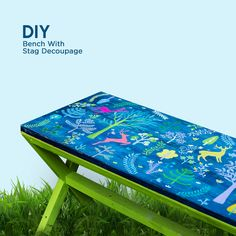 Make your own furniture accents with decoupage. Here is a wooden bench which has been enhanced with Fevicryl Colours and paper cut outs and then sealed with Fevicryl Modge Podge. Decoupage Art, Diy Bench, Craft Work, Diy Projects To Try, Wooden Furniture, Diy Painting, Chalk Paint, Hobby Ideas, House Design