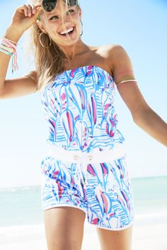 Lilly Pulitzer Dixon Strapless Romper shown in Red Right Return, all you need is your sunnies.