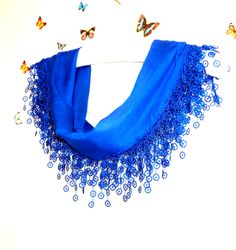Cotton,Scarf,Shawl,Bandana,Headband,Parlement Blue,Wedding ,Shawl,Triangle Scarf,Scarf With Lace
