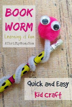 Kid craft, Book Worm quick and easy craft for children #School, #Bookworm, #KidCraft, #Children