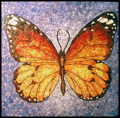 "eggshell mosaic - butterfly - for inspiration - background is painted black - love the apparent ""glow"" around the body area - #eggshell #mosaic - pb†å"