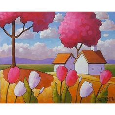 Pink Trees Tulips by Catherine Horvath Buchanan