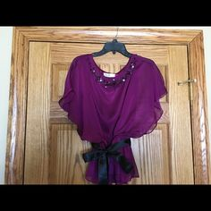 Jewel-tone dressy blouse Beautiful embellished jewel-toned blouse with ribbon-belt. Excellent condition. Worn twice and dry cleaned. Tops Blouses