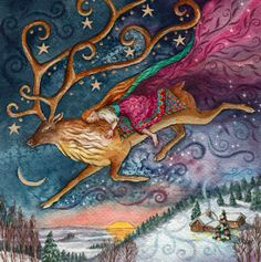 Winter Wonder : Yule/Winter Solstice : Cards by Occasion / Recipient : Home : Pagan/spiritual and fairy/fantasy greeting cards, prints and gifts at Moondragon Christmas Pictures, Christmas Art, Vintage Christmas, Christmas Paintings, Pagan Yule, Pagan Art, Wiccan, Yule Celebration, Vikings