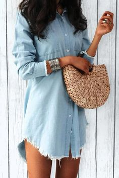 Pocket Long Sleeve Denim Mini Dress | girlyrose.com